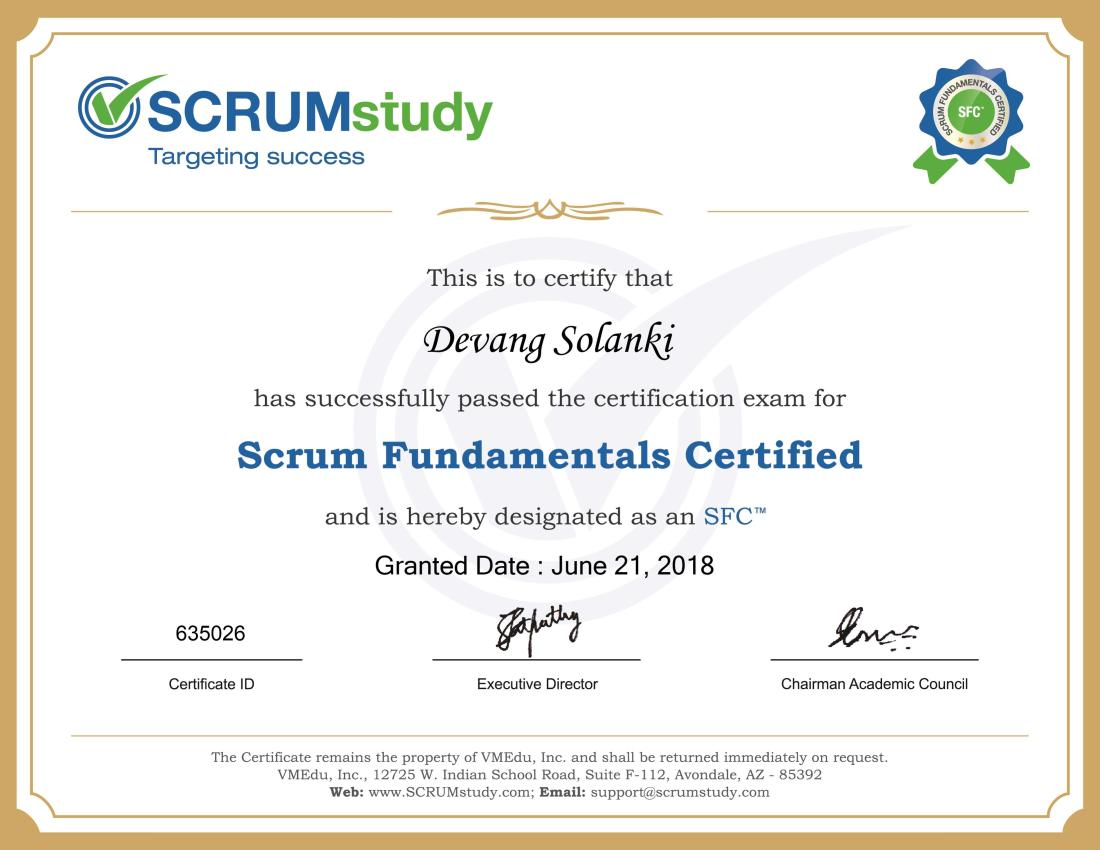 Scrum Fundamentals Certified (SFC)-Devang Solanki