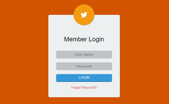 Orange Member Login Form