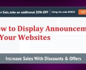 How to Display Announcements or Discounts in Your Websites