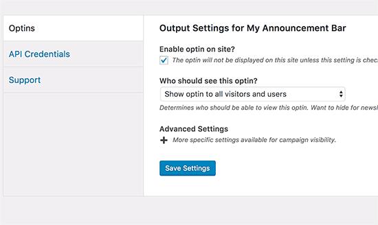 announcements enableoptin