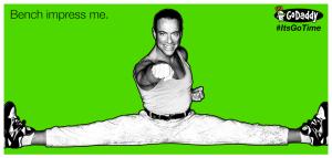 Bench impress me Jean Claude Van Damme Its Go Time Godaddy Meme