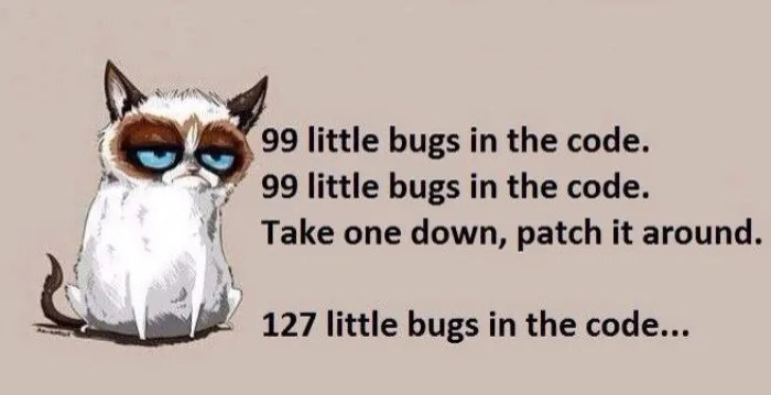 Grumpy Cat Patching Bugs Developer Meme