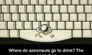 Where do astronauts go to drink The spacebar meme