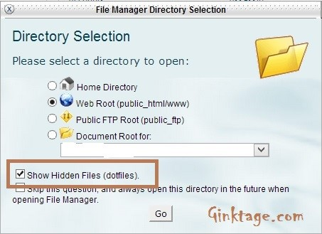How to show hidden files in cPanel File Manager?