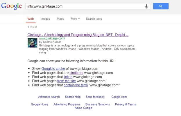 Trick - Display Web Page Information in Google