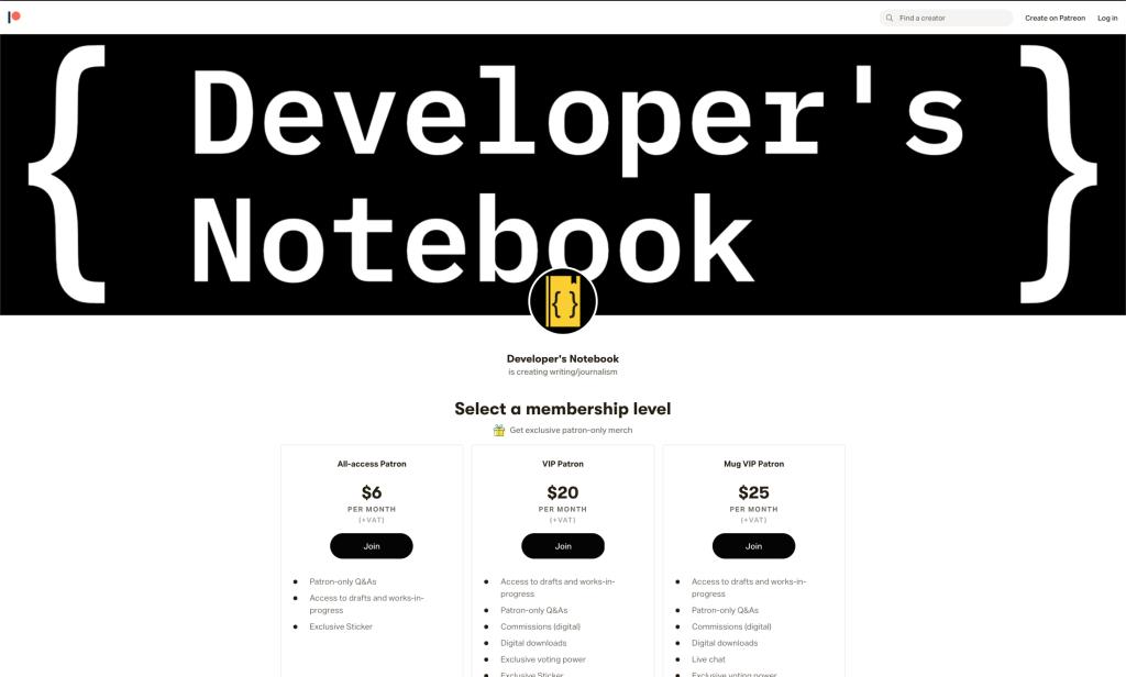 Developer's Notebook on Patreon