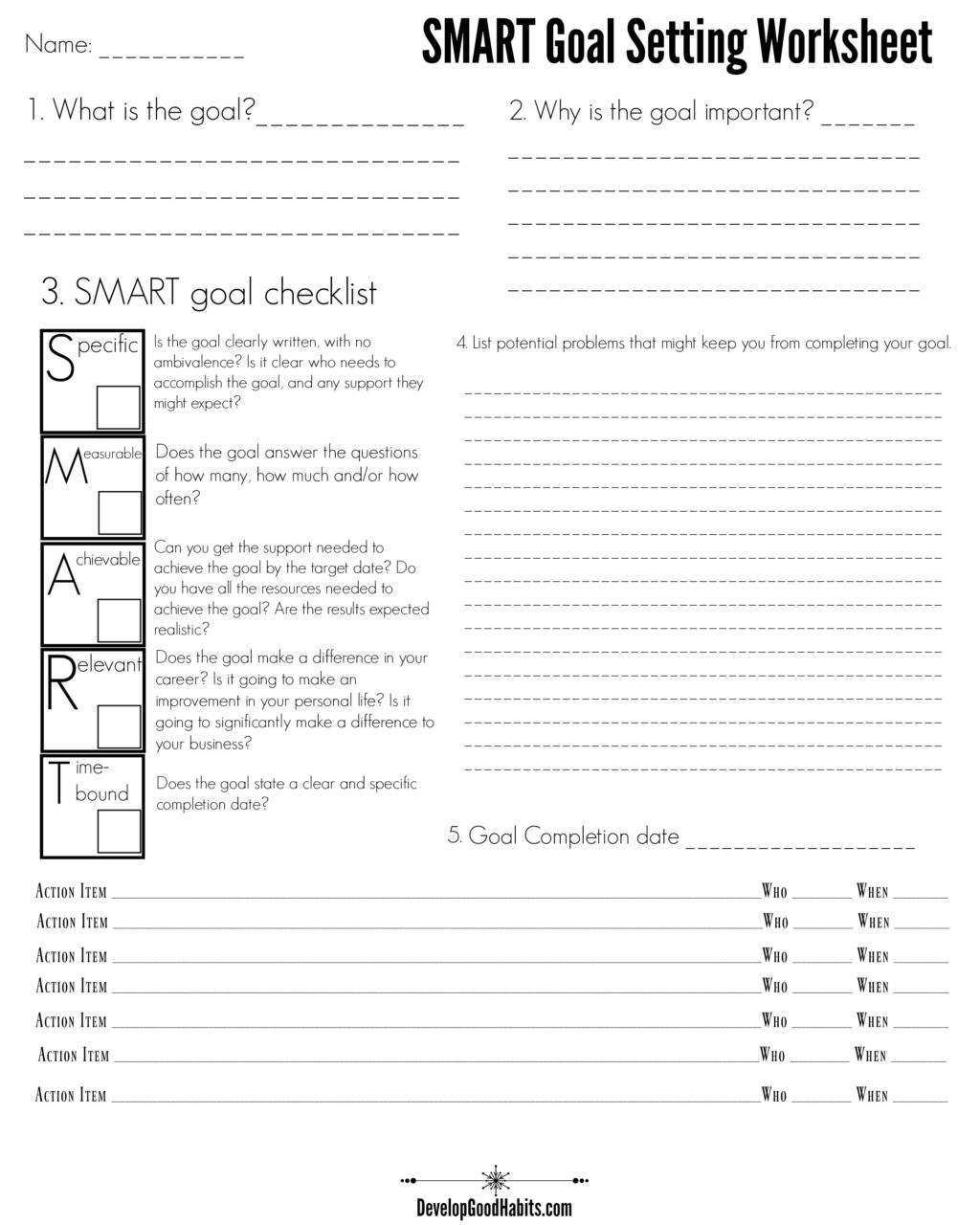 Smart Goal Setting Worksheet