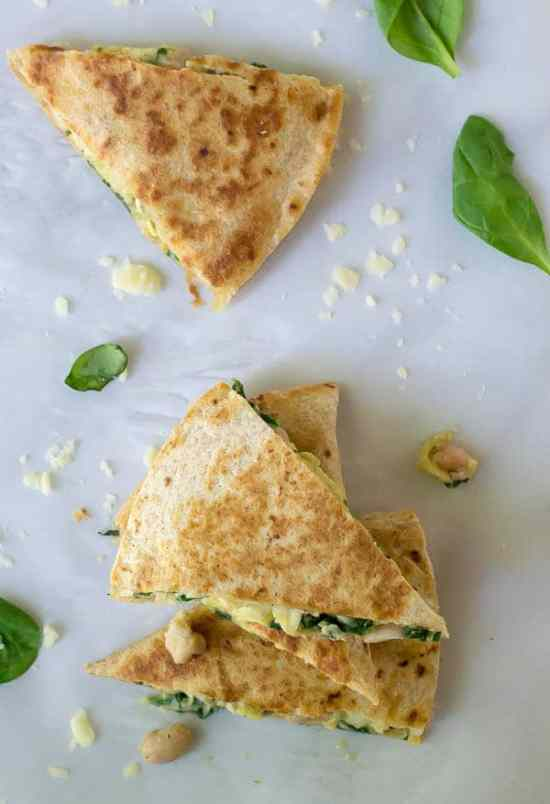 A great freezer meal for two is the Make-Ahead Breakfast Quesadilla with Cheese Spinach and White Beans.