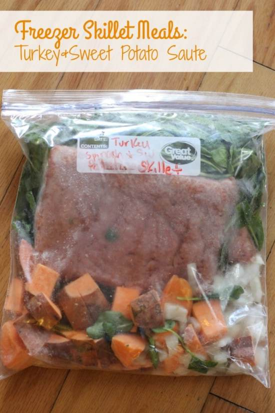 Ready for once a month cooking? Here's teh recipe for Turkey and Sweet Potato Saute.