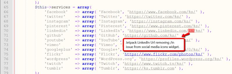 Modifying Jetpack Social Media Icons LinkedIn Url Issue