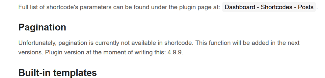 Shortcodes Ultimate Documentation Official showing that PAGINATION is not supported