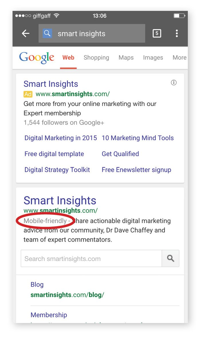 Mobile friendly search results