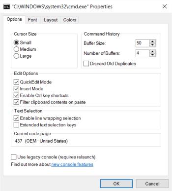 Panneau de propriétés des options cmd.exe (après)