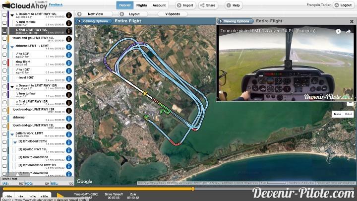 Débriefing sur CloudAhoy des tours de piste en 12 droite à Montpellier LFMT