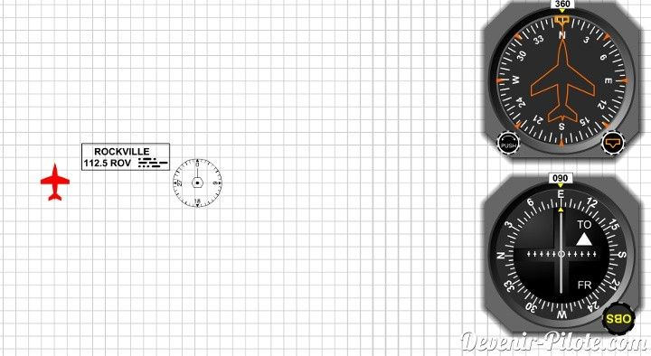 1 - Situation de rapprochement sur le radial 90°. Je règle l'OBI sur 90°. L'indicateur TO s'active