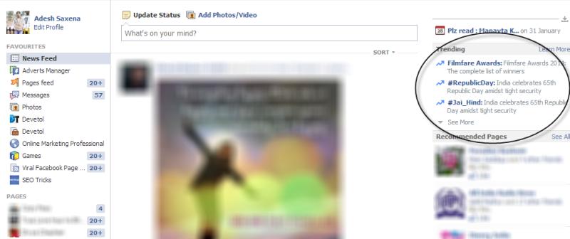 Trending topic facebook