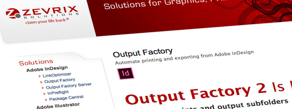 InDesign plugin: Zevrix Output Factory