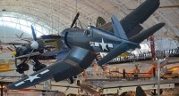 Steven F. Udvar-Hazy heart: Vought F4U-1D Corsair, with P-40 Warhawk in history