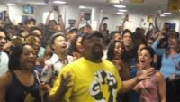 "Watch The Broadway Casts Of ""The Lion King"" And ""Aladdin"" In ""Pitch good""-style Airport Sing-Off"