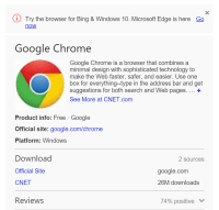 """Bing Pushes Microsoft's part Browser When folks seek for """"Chrome"""" Or """"Firefox"""""""