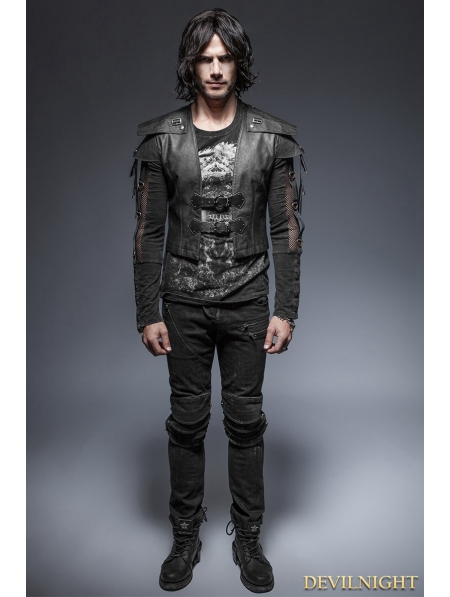 Black Gothic Armor Warrior Short Jacket For Men