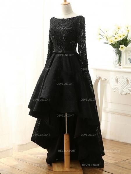 Fashion Black Lace High Low Gothic Wedding Dress