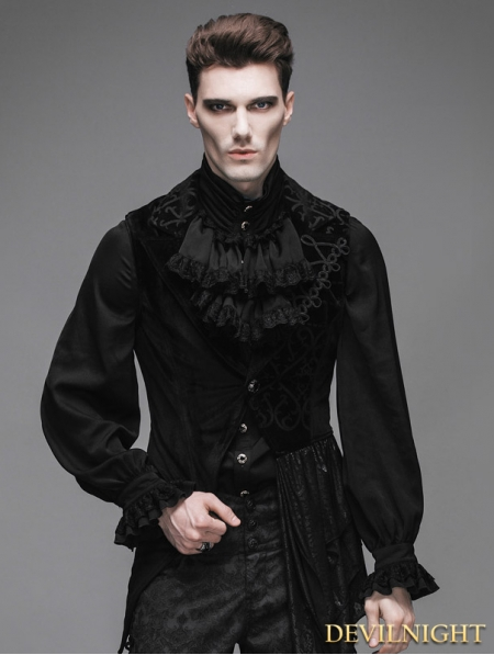 Black Swallow Tail Gothic Waistcoat For Men