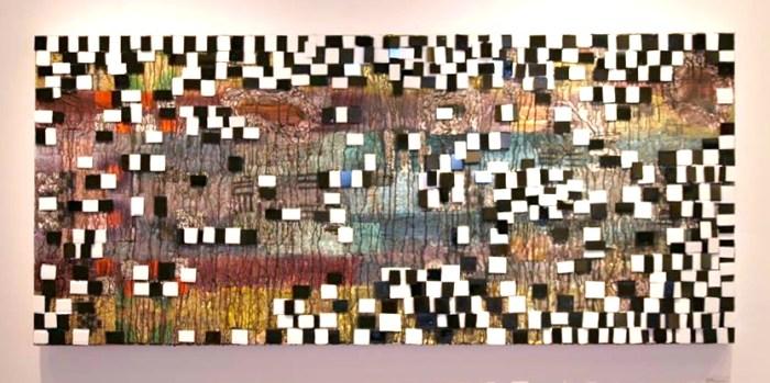 """Dévi Loftus, Face, 2013, Mixed media on canvas, 36"""" x 72""""."""