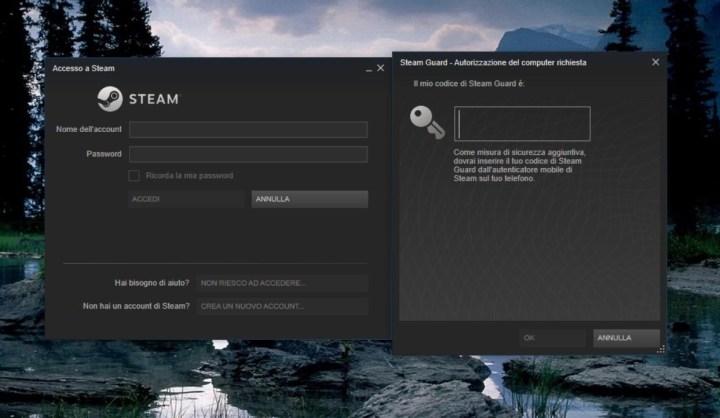 screenshot steam: inserimento codice