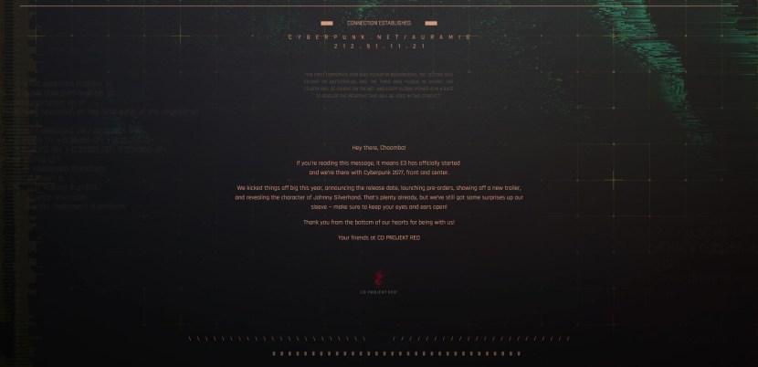 Cyberpunk 2077: il website ufficiale nasconde una cartella dati