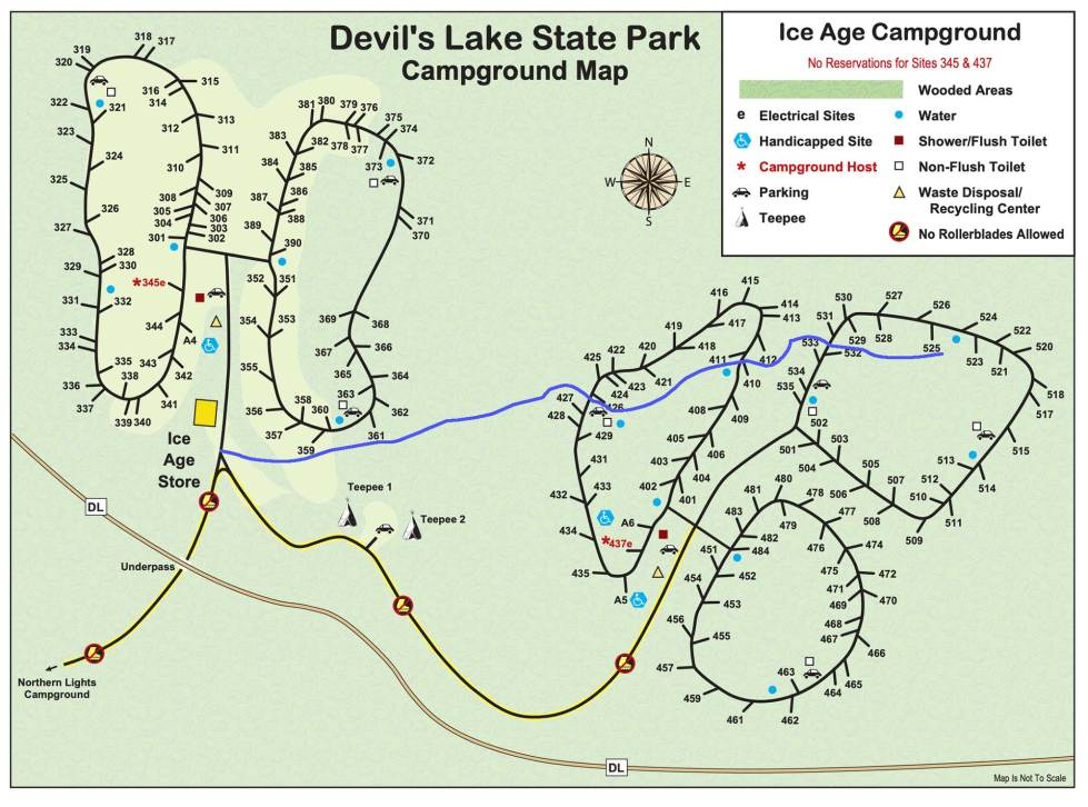 devils lake campground map Camping To The Trickle Of Water Devil S Lake State Park Area devils lake campground map
