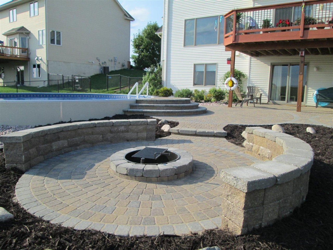 Paver Patio Before and After   Devine Design Hardscapes on Paver Patio Designs With Fire Pit id=64797