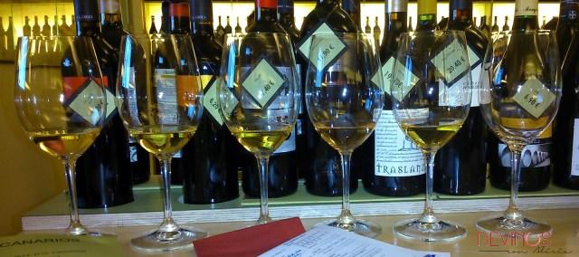 Cata de vinos blancos canarios en Enoteca Barolo. Fuente: Devinos con Alicia