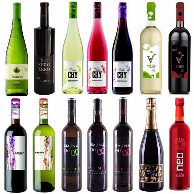 Algunos ejemplos de vinos sin alcohol españoles con una graduación alcohólica inferior a 7%Vol. Fuente: Devinos con Alicia