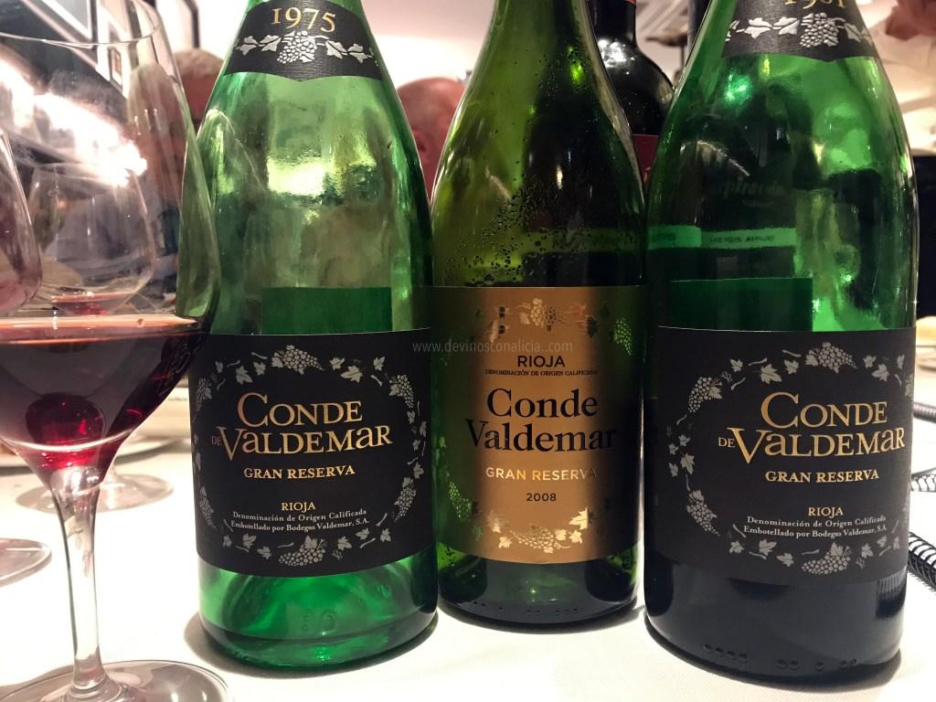 De izquierda a derecha. Conde Valdemar Gran Reserva 1975, Conde Valdemar Gran Reserva 2008 y Conde Valdemar Gran Reserva 1981. Copyright: www.devinosconalicia.com