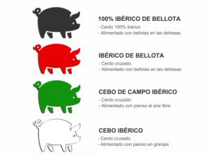 Colores en las etiquetas de Jamón Ibérico de Bellota y significado. Copyright: cestas-marti.com