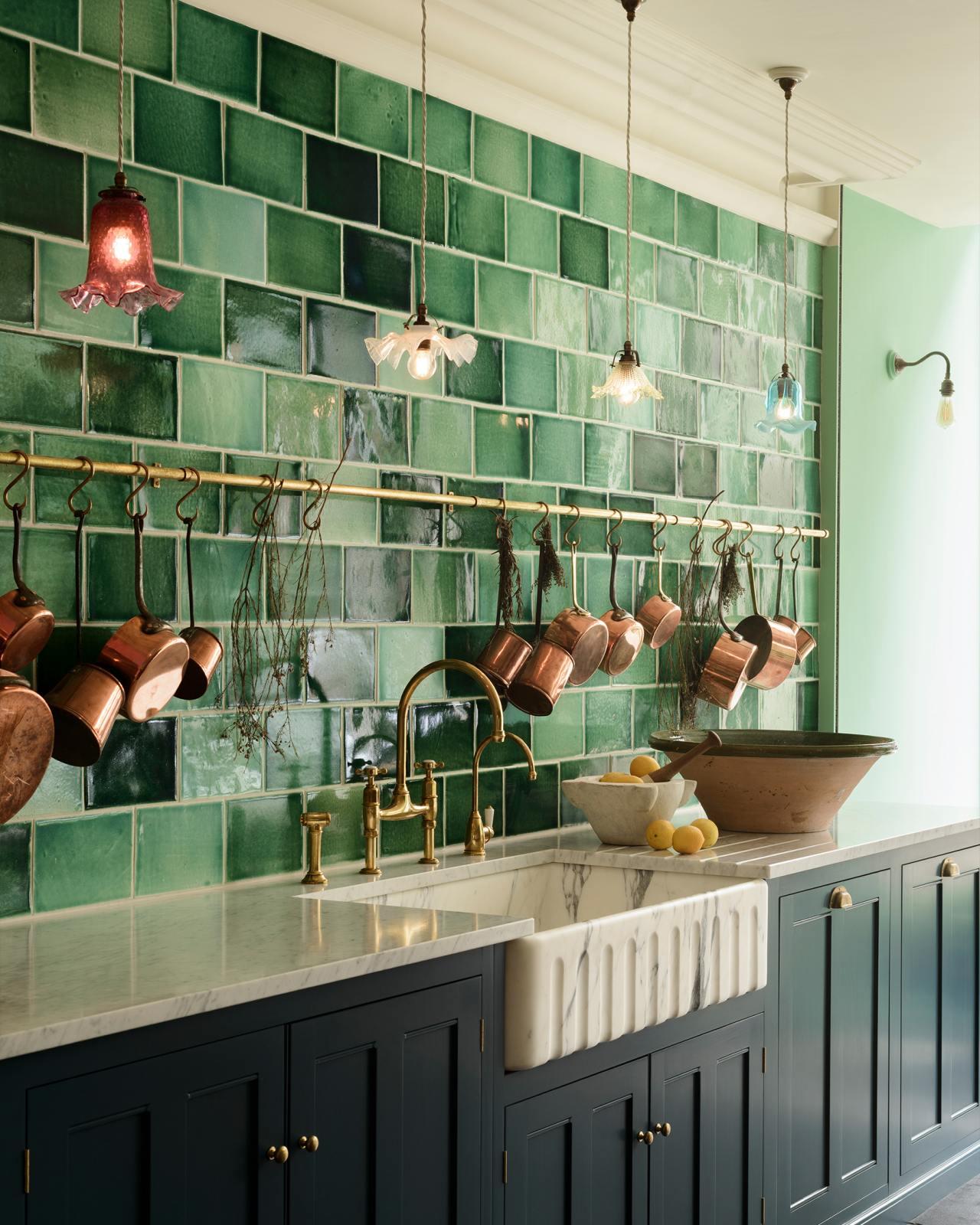 emerald green london tiles devol kitchens