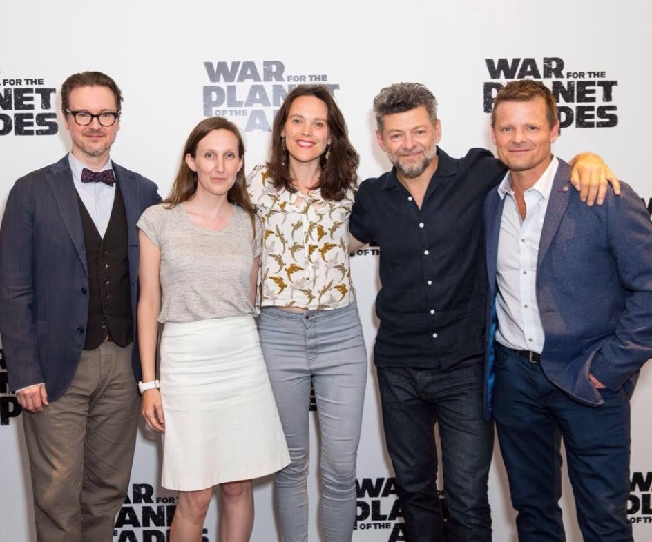War for the Planet of the Apes: Left to right; Matt Reeves, Lauren Brent, Zanna Clay, Andy Serkis and Steve Zahn (credit Fox).jpg