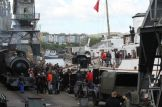 Filming on Bristol harbour for upcoming feature The Guernsey Literary and Potato Peel Pie Society-image courtesy Bristol Film Office