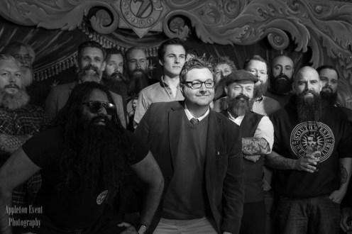 Lead Jack Allum and Author of the Poem Robert Garnham with the South West Beard Club