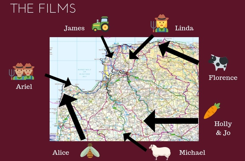 down on the farm filmmakers pointed out in a map of North Devon