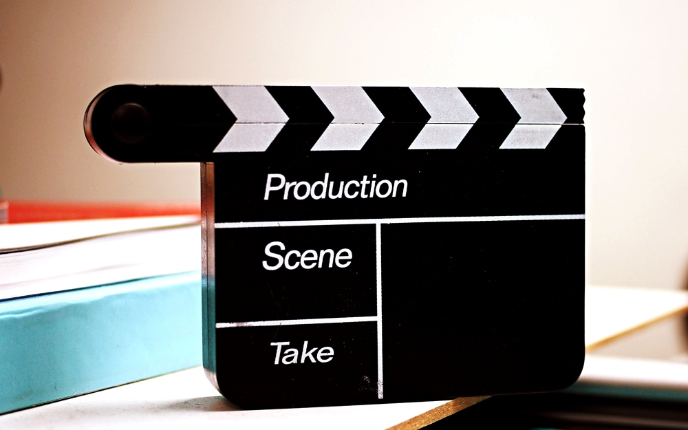 Clapperboard for filmmaking, but blank