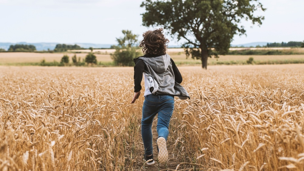 still from SafeKeeping: we see the back of a boy running away from us through a field