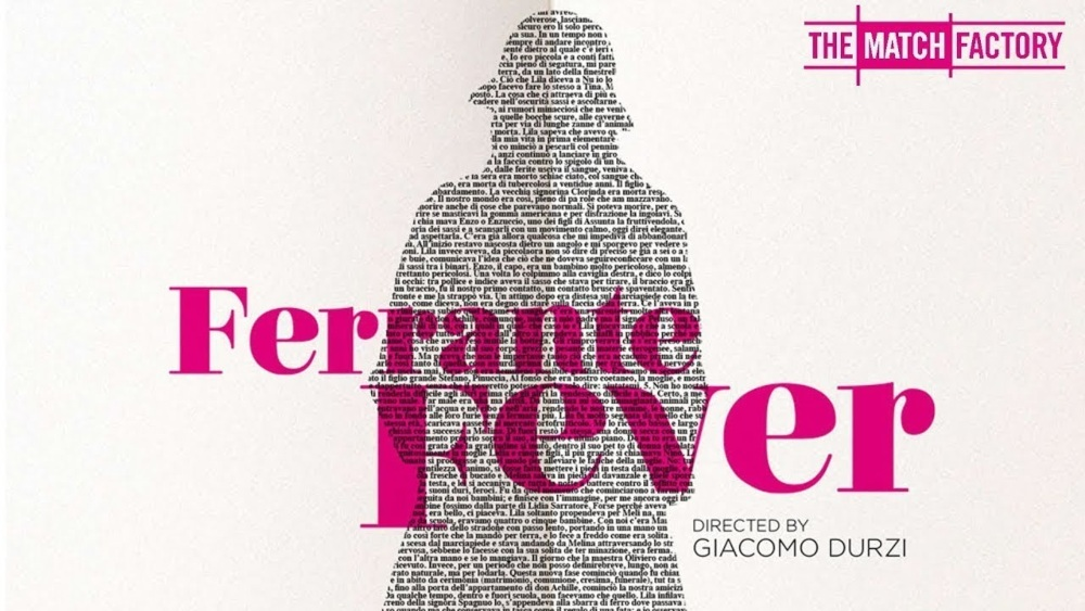 Ferrante Fever poster with the words of the documentary in large type in pink over the shadow of a woman create out of printed words, like in a book