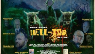 hell-tor poster with the words in yellow and cartoon-like portraits of those talking part