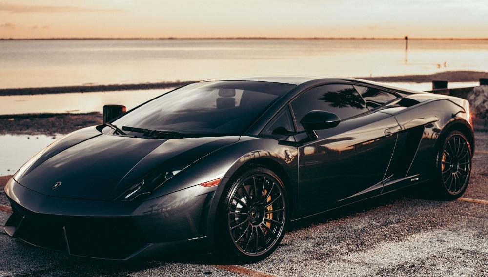 a sleek black sports car