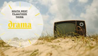 a tv on a beach; south west filmathon thing- drama is written on it