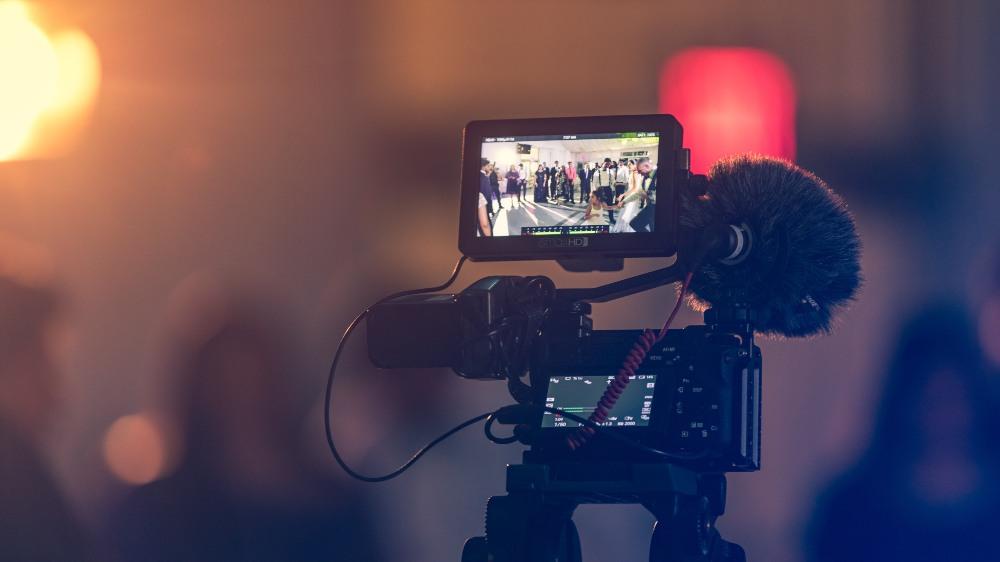 a camera filming a scene