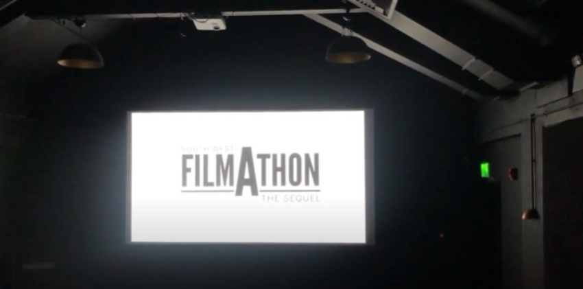 South West Filmathon The Sequel logo on screen at studio 74 at the Exeter Phoenix