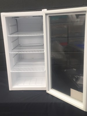 Small glass fronted fridge 88 ltr